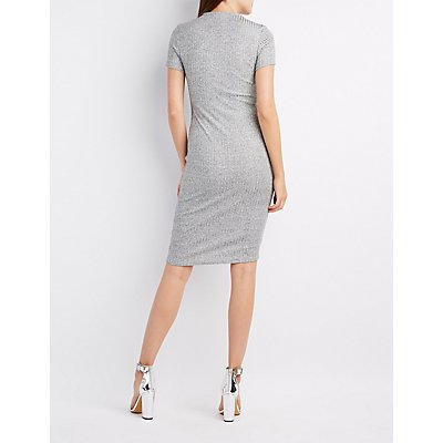 Ribbed Sparkle Mock Neck Dress