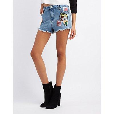 Patches Cut-Off Denim Shorts