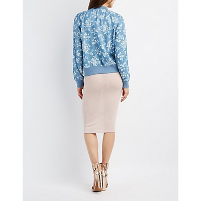 Refuge Floral Chambray Bomber Jacket