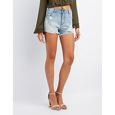 Destroyed High-Rise Shorts