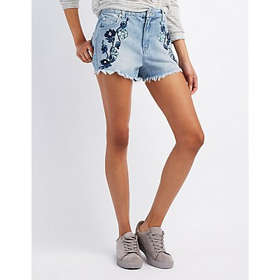 Embroidered Cut-Off Denim Shorts
