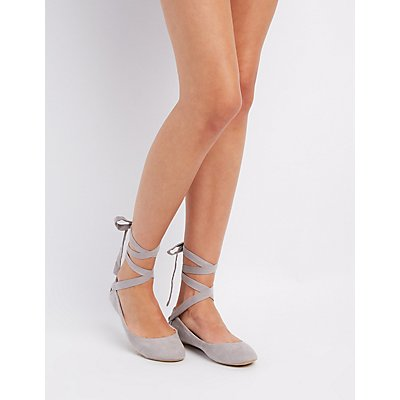 Qupid Lace-Up Ballet Flats