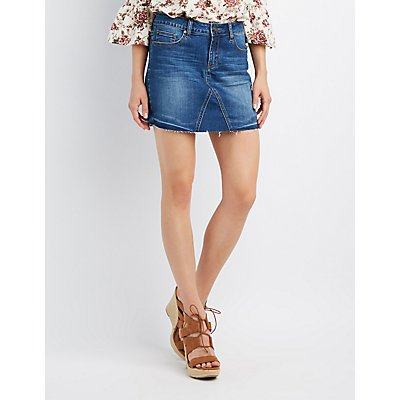 Frayed Denim Mini Skirt | Charlotte Russe