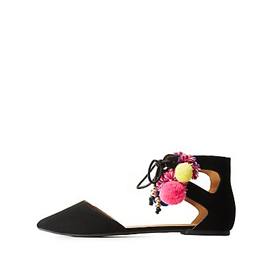 Qupid Pom Pom Pointed Toe Flats