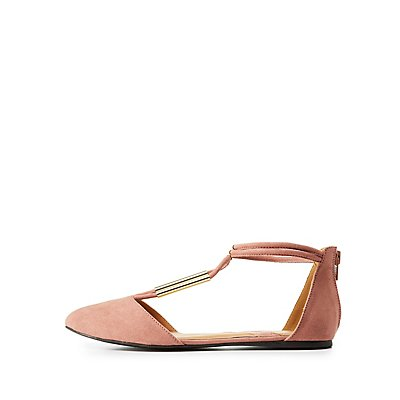 Qupid Metal-Trim Pointed Toe Flats