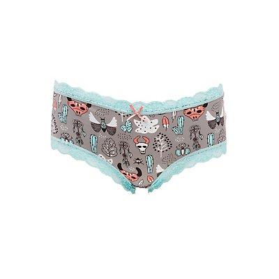 Printed Caged-Back Cheeky Panties