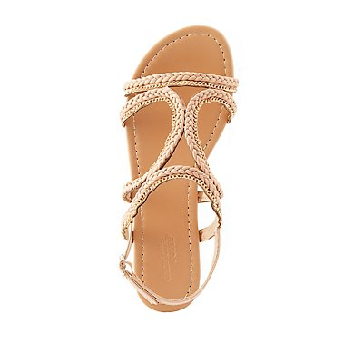 Braided & Chainlink Slingback Sandals