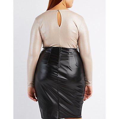 Plus Size Shimmer Lattice-Front Bodysuit