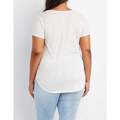 Plus Size Marled Henley Tee