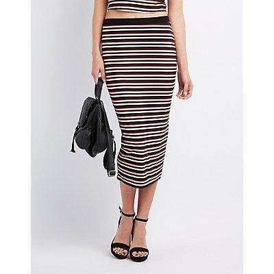 Striped & Ribbed Midi Skirt