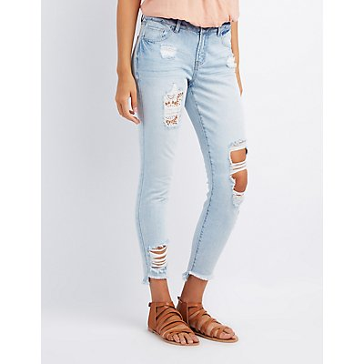 Refuge Skinny Crochet Destroyed Jeans