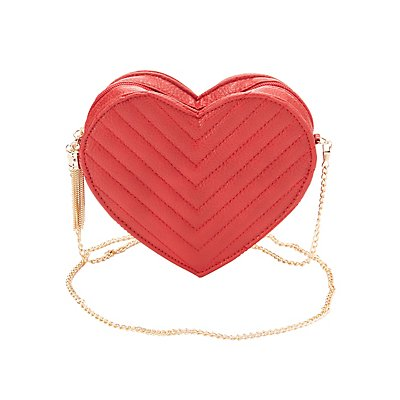 Quilted Heart Crossbody Bag
