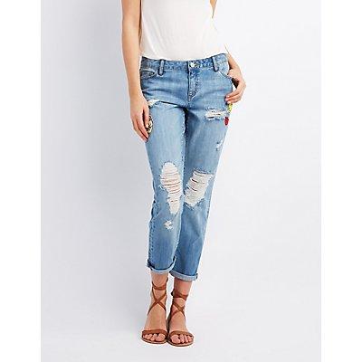 Refuge Patched Crop Boyfriend Jeans