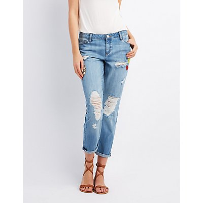 Refuge Patched Crop Boyfriend Jeans