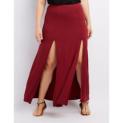 Plus Size Slit Maxi Skirt