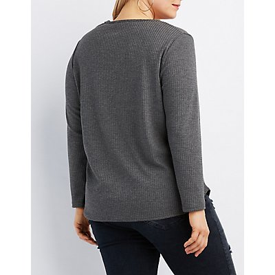 Plus Size Waffle Knit Cut-Out Tee