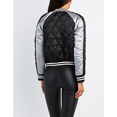 Quilted Embroidered Bomber Jacket