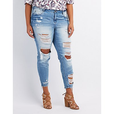 Plus Size Destroyed Boyfriend Jeans | Charlotte Russe