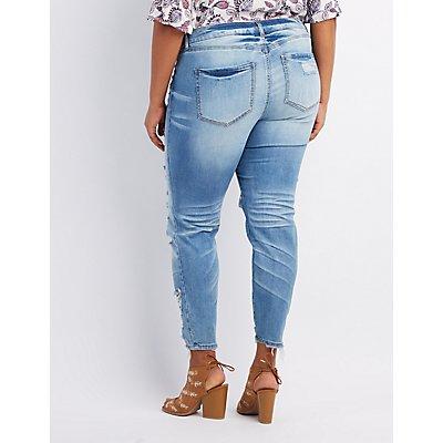 Plus Size Destroyed Boyfriend Jeans | Charlotte Russe