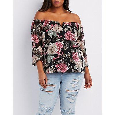 Plus Size Floral Off-The-Shoulder Notched Top