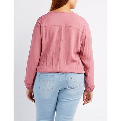 Plus Size Crochet-Inset Surplice Top