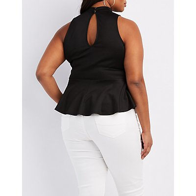 Plus Size Strappy Mock Neck Peplum Top