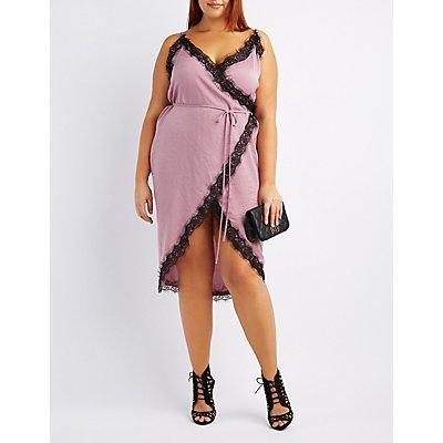 Plus Size Lace-Trim Wrap Dress