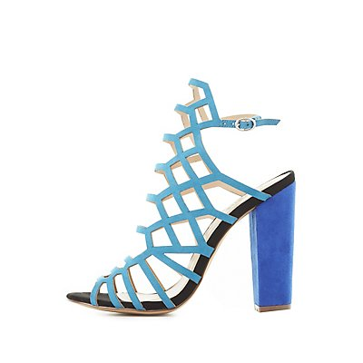 Colorblock Laser Cut Sandals