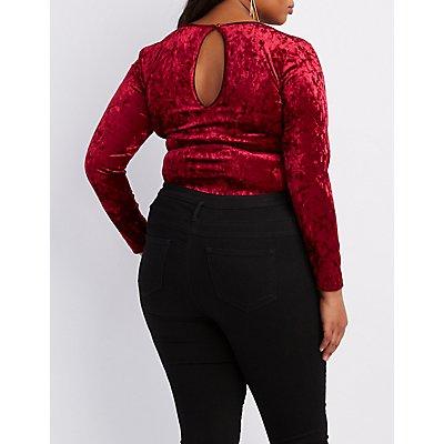 Plus Size Velvet Strappy Bodysuit