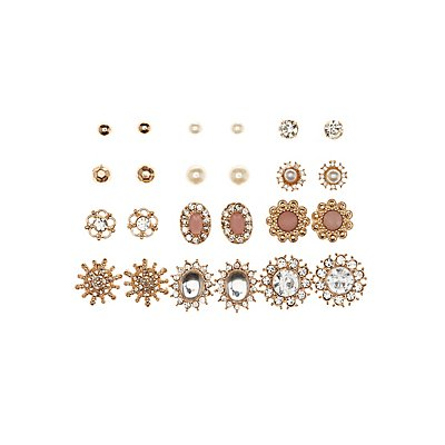 Embellished Floral Stud Earrings - 12 Pack