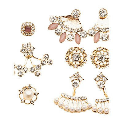 Embellished Ear Jacket & Stud Earrings Set