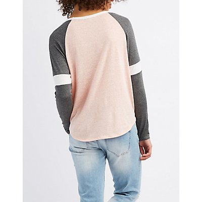 Colorblock Striped Raglan Tee
