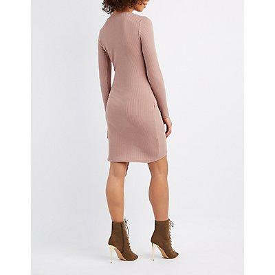 Cut-Out Asymmetrical Wrap Dress
