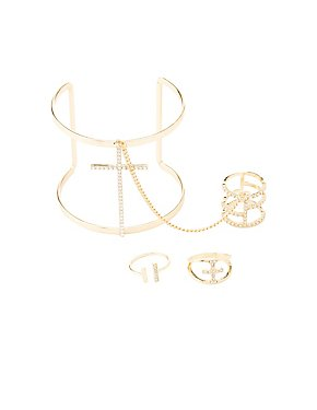 Caged Cuff Bracelets & Rings Set