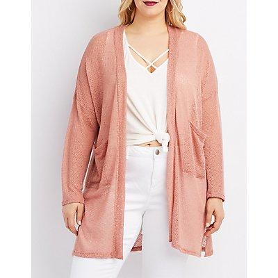 Plus Size Open Knit Longline Cardigan