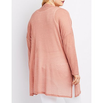 Plus Size Open Knit Longline Cardigan