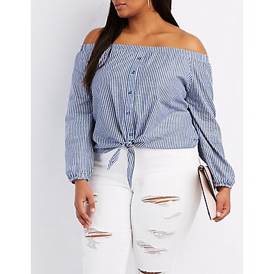 Plus Size Striped Off-The-Shoulder Button-Up Top