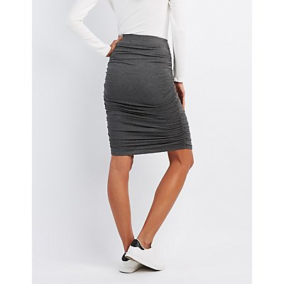 Ruched Pencil Skirt