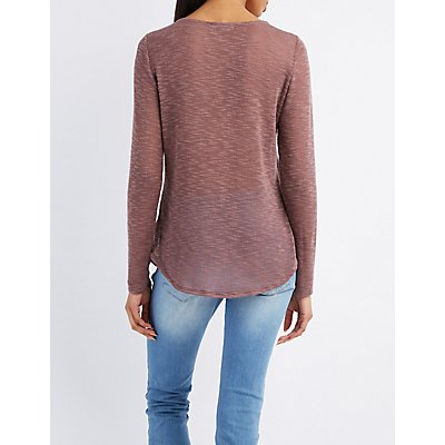 Slub Knit Lattice-Front Top