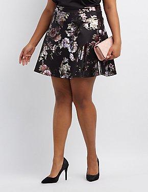 Plus Size Metallic Floral Skater Skirt