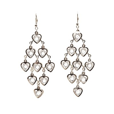 Heart Crystal Kite Earrings
