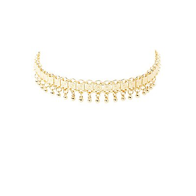 Beaded Etched Metal Choker Necklace