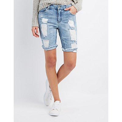 Destroyed Denim Bermuda Shorts
