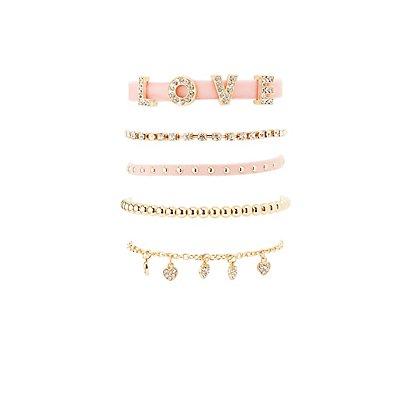 Embellished Love Layering Bracelets - 5 Pack