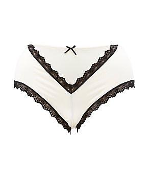 Plus Size Lace & Mesh-Trim Cheeky Panties