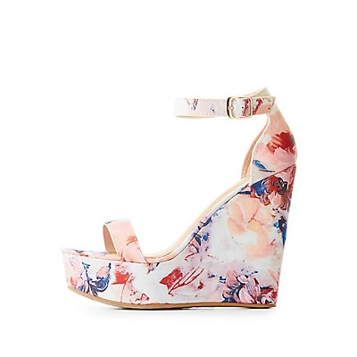 Bamboo Floral Two-Piece Wedge Sandals