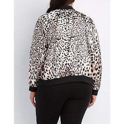 Plus Size Leopard Print Bomber Jacket