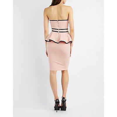 Two-Tone Strapless Peplum Dress