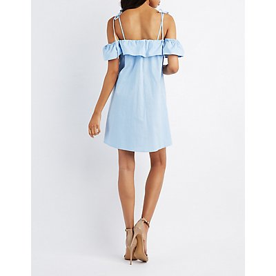 Cold Shoulder Button-Up Dress