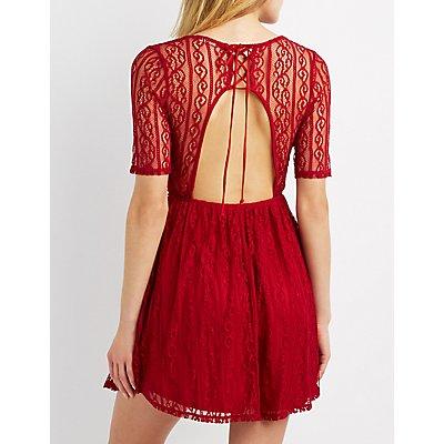 Lace Open Back Skater Dress